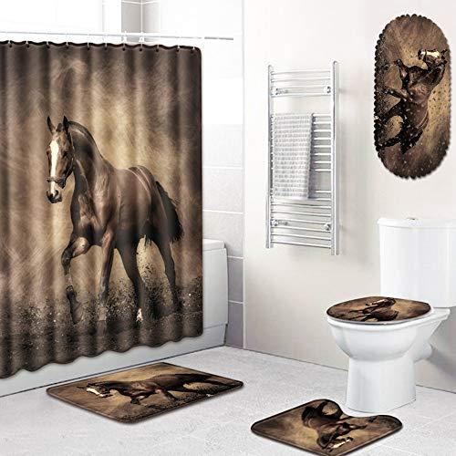 PPWYY Tier Muster Dusche Vorhang-Set,Polyester Stoff-Badvorhang Toilette Abdeckmatte Zum Bad Mit Rutschfester Bodenmatte 5 Teile/Satz,D,45 * 75CM