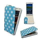 Samsung Galaxy S5 G900 Gepunktet Muster Design in Verschiedenen Farben Klapp Kunstleder Schutzhülle von Gadget Boxx - Hellblau Gepunktet
