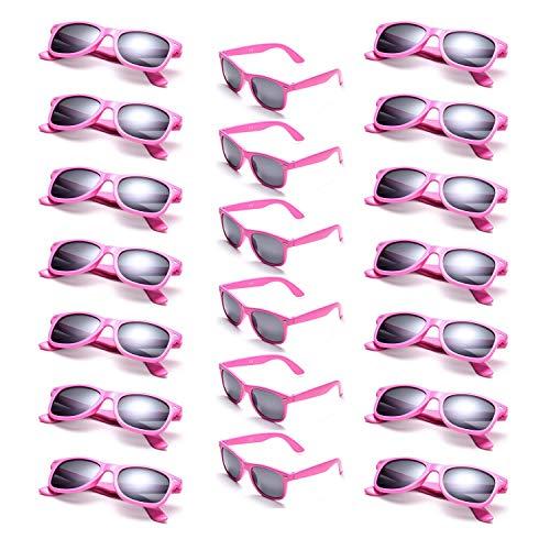Onnea 20 Stück Party Favors 80's Sonnenbrille UV400 Schutz für Damen Herren (20 Rosa)