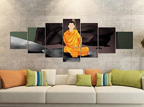 Leinwandbilder 7 Tlg 280x100cm Buddha Feng Shui Yoga Statue Cartoon Leinwand Bild Teile teilig Kunstdruck Druck Vlies Wandbild mehrteilig 9YB715, Leinwandbild 7 Tlg:ca. 280cmx100cm