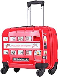 Di Grazia Red London Bus Car Children Ride On Rolling Luggage Spinner Boarding Box Trunk Student Travel Bag Trolley...
