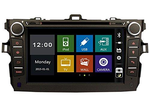 20,3cm-INDASH Auto DVD-Player mit BT/TV, Unterstützung Kamera, Lenkradfernbedienung, USB/SD AUX, Audio Radio Stereo, Car Multimedia Haupteinheit für Toyota Corolla 200620072008200920102011 (Toyota Corolla 2006 Auto Stereo)