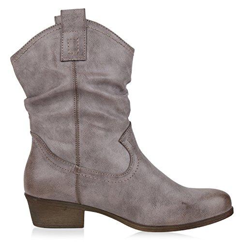 Damen Cowboy Boots Lederoptik Stiefeletten Blockabsatz Stiefel Grau