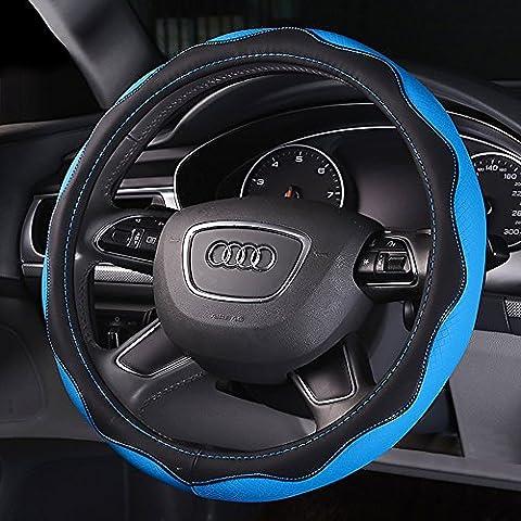Y & B Automotive Couvre-volant en cuir avec 38cm/38,1cm Diamètre Bleu Bleu