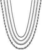 sailimue 4Pcs Edelstahl Männer Kette für Herren Damen Halskette Weizen Rolo Kabel Kette Chain 2-4mm 51-71CM