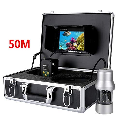 YUYUKUAILAI 50M Unterwasserfischerkamera - 360-Grad-Ansicht, Fernbedienung, 7-Zoll-LCD-Monitor, 14x weiße Lichter