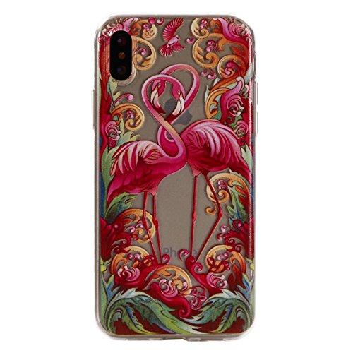 Cover per iphone X / iphone 10, Custodia per iphone X / iphone 10,Cozy Hut iphone X / iphone 10 Silicone Case Ultra-thin Shock-Absorption TPU Gel Silicone Protettivo Skin Custodia Protettiva Shell Cas Coppia di Flamingo