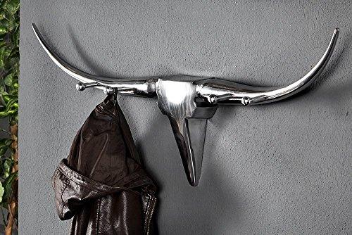 garderobe silber Invicta Interior Design Garderobe BULL Alu Wanddekoration Geweih Stier Alu 100cm Dekoration Wandmontage