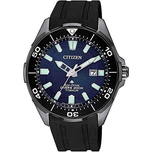 Citizen promaster diver 200 mt eco drive super titanio nero bn0205-10l orologio da polso uomo