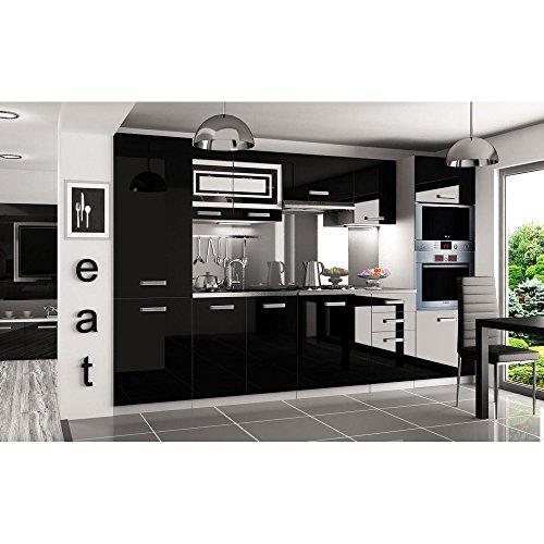 justhome-syntka-pro-led-cuisine-equipee-complete-300-cm-couleur-noir-laque-haute-brillance