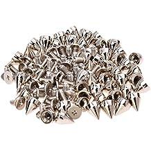 SODIAL(R) 50 x Remaches Conoidales Tornillo Metal para Ropa de Cuero Punk