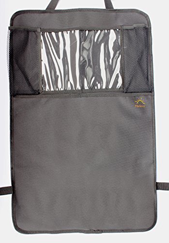 Rückenlehnenschutz und Kinder-Autositzschutz - extra langer Rücksitzschoner mit iPad-/Tablet-Fach und große Tasche - Sitzlehnenschoner – schmutzabweisend wasserdicht - passend für alle Autositze (Öffnungen Naht Seite)