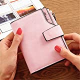 Women Leather Wallet, Gracosy PU Leather Purse Credit Card Organizer Ladies Card Case Wallet Blocking Purse Multifunction Zipper Pocket Handbag Large Capacity Wallet with Coin Compartment Light Pink