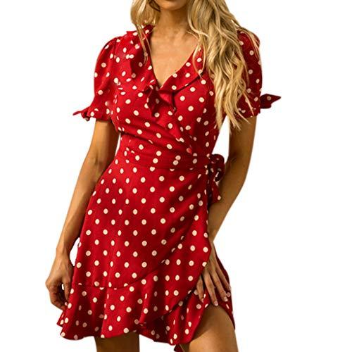 Sulifor Vestido de Gasa Lunares,Vestido Rojo de Playa,Vestido Vintage para Mujer,Vestido con Volantes Precioso,Vestido Casual y Diaria