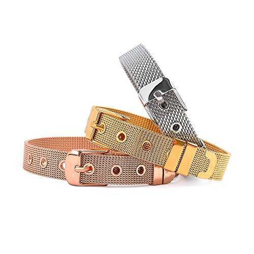 RicVanMur Armband - Personalisiertes RVM Mesh Charmband in Gold, Silber, Rosé Gold Charms