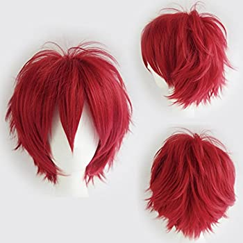 Cosplay Wigs Short Anime Costume Party Full Wigs Dark Red Fashion Straight Synthetic Hair For Women Men 0