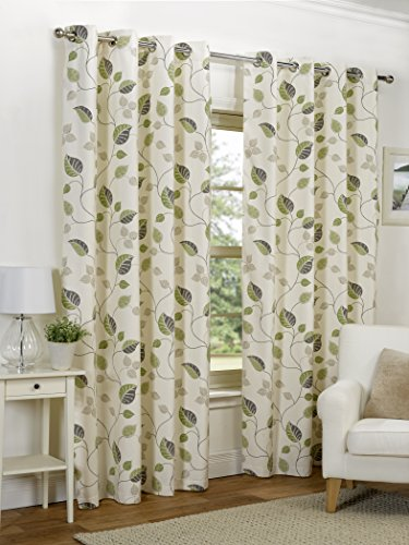 Ready Made Green Leaf Design Modern Curtains Full Lined Eyelet Ring Top [Size 46″ x 54″]