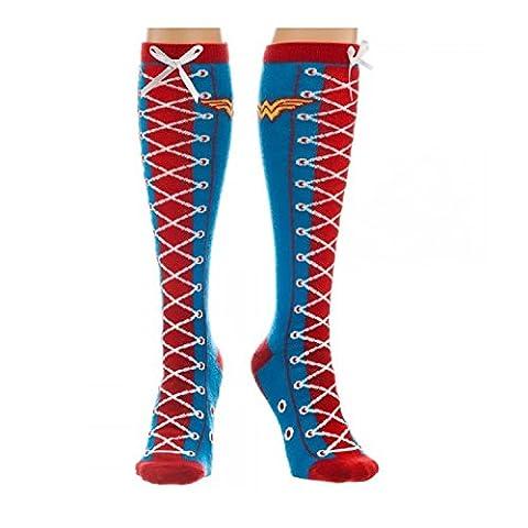 Chaussettes Montantes Wonder Woman avec Faux Lacet Décoratif - DC Comic