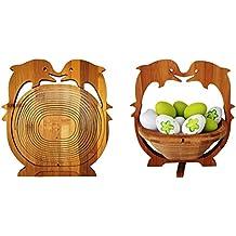 Bambus Obstkorb Dekoschale Obstschale Holz Design faltbar Schwein Tableware, Serving & Linen