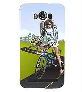 Fuson Cycling Girl Back Case Cover for ASUS ZENFONE 2 LASER ZE500KL - D4037