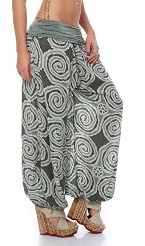 malito Damen Pumphose mit Kreis Muster | Haremshose zum Tanzen | Aladinhose zum Chillen �?Freizeithose 1718 Oliv