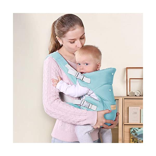 Infant Baby Holder Carrier Backpack Ergonomic with Head Support Padded Shoulder Straps Front and Back for Newborn Toddler Wrap in All Season,Green tiancaiyiding ❤ Ergonomic Design: Wide and thick backpack straps help relieve stress . Easy to put on or take off. ❤ M shape Position: Stop hurting your baby's legs. Keep blood circulation in normality. ❤ All-round Support: Simple and thus strong structure. 360° wraps the baby against falling out. Collapsible hood for wind and sun protection 7