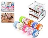 DSstyles 10 Stück Washi Masking Tape DIY Aufkleber mit 2 Stück 1 Layer Transparente Desktop Tapes Messer Spender Storage Case, Rollbandhalter