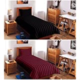 """SAANCH DESIRE SUPER SAVER COMBO OF 300 TC 2 SINGLE PLAIN COTTON BEDSHEETS WITH 2 PILLOW COVERS(60""""x90"""")BLACK & MAROON"""