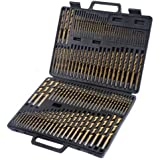 New 115pc HSS High Speed Steel Titanium Drill Bit Set Metal w/ Index Carry Case by Brand New