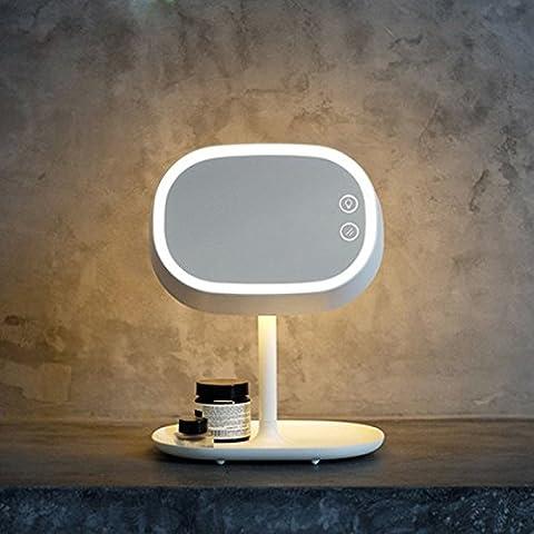 Eplze Creativo 2-en-1 Maquillaje Espejo Recargable LED Escritorio Lámpara Toque-sensible Ojo-proteccion Leyendo Mpara (Blanco)