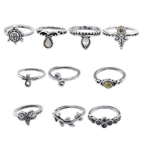 Union Tesco 10Pcs Orientalisches Vintage Midi Ring Midiringe Set,Vintage Fashion Frauen Midi Ring Nagel Finger Band (Silber)