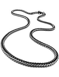 MENDINO 3,9mm 5.0mm Ancho Acero Inoxidable Collar potente Curb cadena enlace negro para hombre con regalo pouth