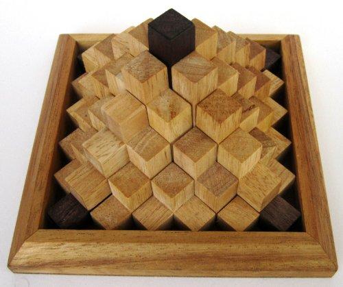 Keops Pyramide - 3D Puzzle - Denkspiel - Knobelspiel - Geduldspiel - Logikspiel aus Holz