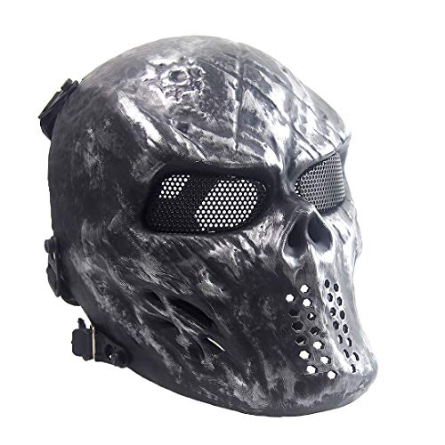 Sensong Airsoft Maske mit Metallgitter Augenschutz Halloween Skull Schutzmaske Taktische Full Face fur Paintball Softair CS Partyspiel Silbergrau
