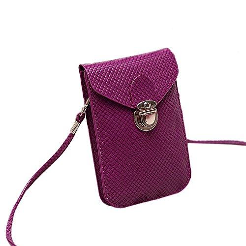 bourse de plaid - TOOGOO(R) Mode style de Preppy Femmes Mini sac sac de telephone portable en cuir PU Plaid Sac de messager Sac a bandouliere femmes bourse violette