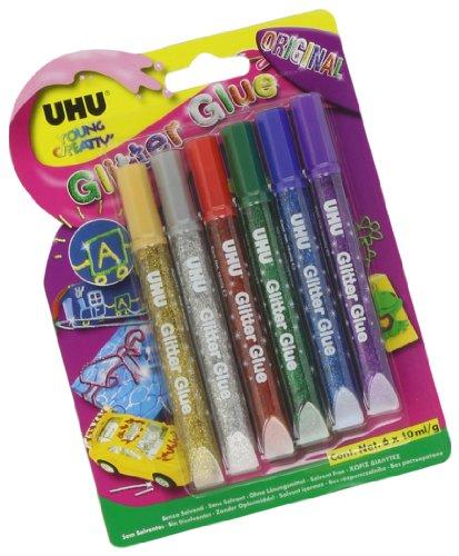 Uhu D1549 Glitter Glue Uhu, Original, Assortiti, 10 ml, Confezione da 6 - 10 Glue