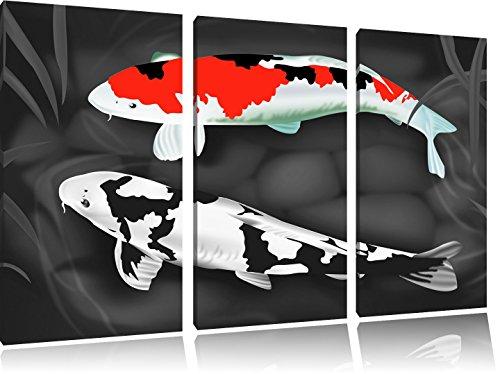 Drawn Carpa Koi bianco / nero su 120x80 immagine su tela 3 pezzi tela di canapa, grande XXL Immagini completamente Pagina con la barella, stampa d'arte su murale con la struttura, gänstiger come la pittura o pittura ad olio, nessun manifesto o poster