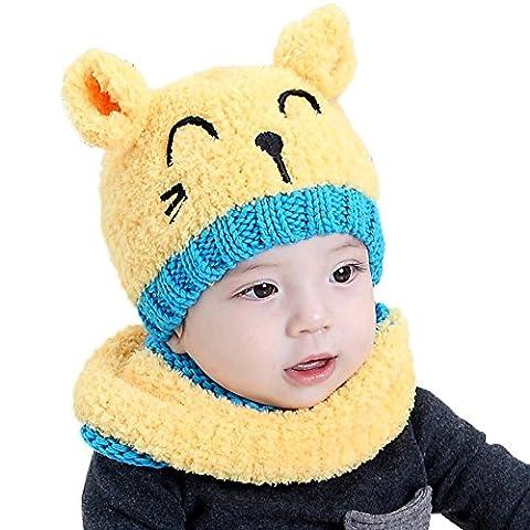 Bonnet Bebe, Oyedens Bonnet de Tricote Chapeaux Ensemble Bonnet Echarpe Hiver Chaudes Coif Casquettes Écharpe Réchauffez Pour Enfant Unisexe 1-3 ans Enfants (Jaune)