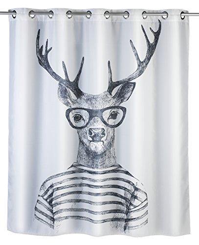 Wenko 22478100 Anti-Schimmel Duschvorhang Mr. Deer Flex, Anti-Bakteriell, 100{1f8616786e070192dd87534978bac5f92503c0236e6252dedcf25c3b876e858b} Polyester, 180 x 200 cm, weiß