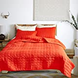 Hyprest Geometric Quilt Set Gird King Solid Color Bedspread Simple Oversized Coverlet Set 3-Piece with 2 Pillow Cases Orange