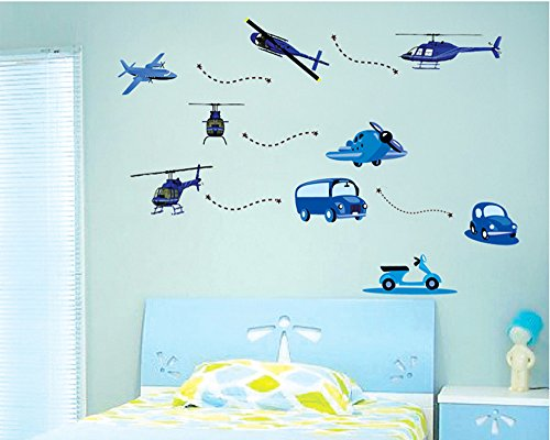 ufengke® Véhicules de Bande Dessinée Voitures Bleu Plan Stickers Muraux, La Chambre des Enfants Pépinière Autocollants Amovibles