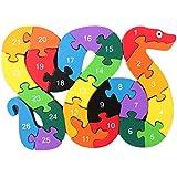 yeah67886colorido de madera juguetes educativos Puzzle Serpiente del alfabeto Bloques de construcción para niños