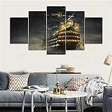 DYCHJD Leinwand Malerei Wandkunst Abstrakte Dekorative Modular Bilder Für Wohnzimmer Schlafzimmer Öl Druckt Fünf Panel Boot 20x35 20x45 20x55 cm
