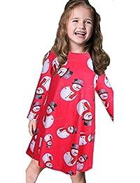 Internet Bébé filles enfants Noël bonhomme de neige à manches longues robes de Swing