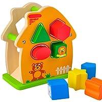 ACOOLTOY Legno Forma Intelligenza Casa Animale Geometria Sorter Building Blocks Box Giocattoli Educativi per i Bambini