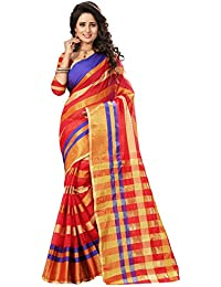 Women's Poly Silk Traditional Saree Unstitched Blouse Design (Manipuri 555 Red_Red)