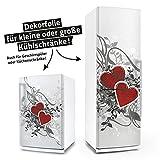 Kühlschrank- & Geschirrspüler-Aufkleber --- Retro Love Herzen --- Dekor Folie