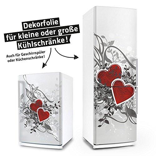 Kühlschrank- & Geschirrspüler-Aufkleber --- Retro Love Herzen --- Dekor Folie Klebefolie Front Sticker (Kühlschrank Vinyl Cover)