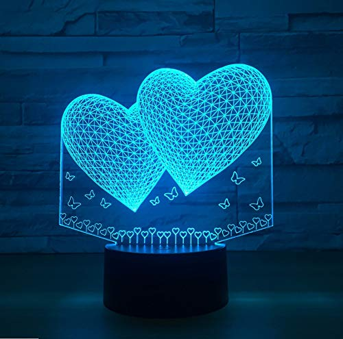 Double Two Heart Lámpara 3D 7 Colores Led Night Lamp Para Amigos Touch Led Usb Table Sleeping Nightlight