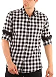 Zotory Mens Casual Full sleeve cotton Checkered shirts White&Black Color (130-XL)